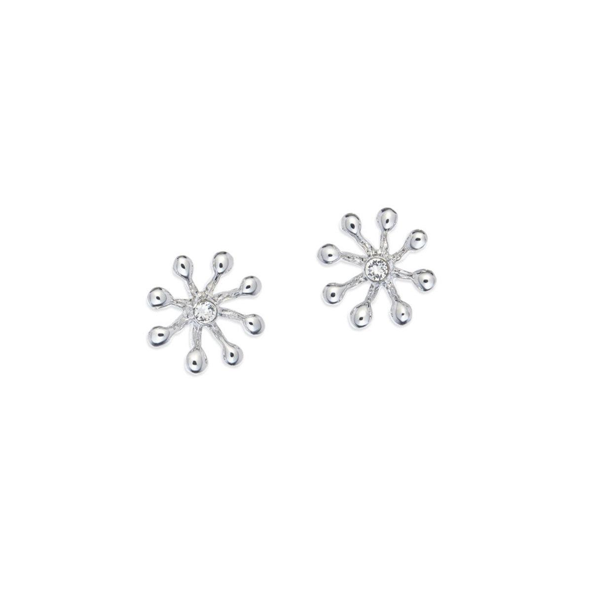 Brillia: platinum plating, rhinestone pierced earrings