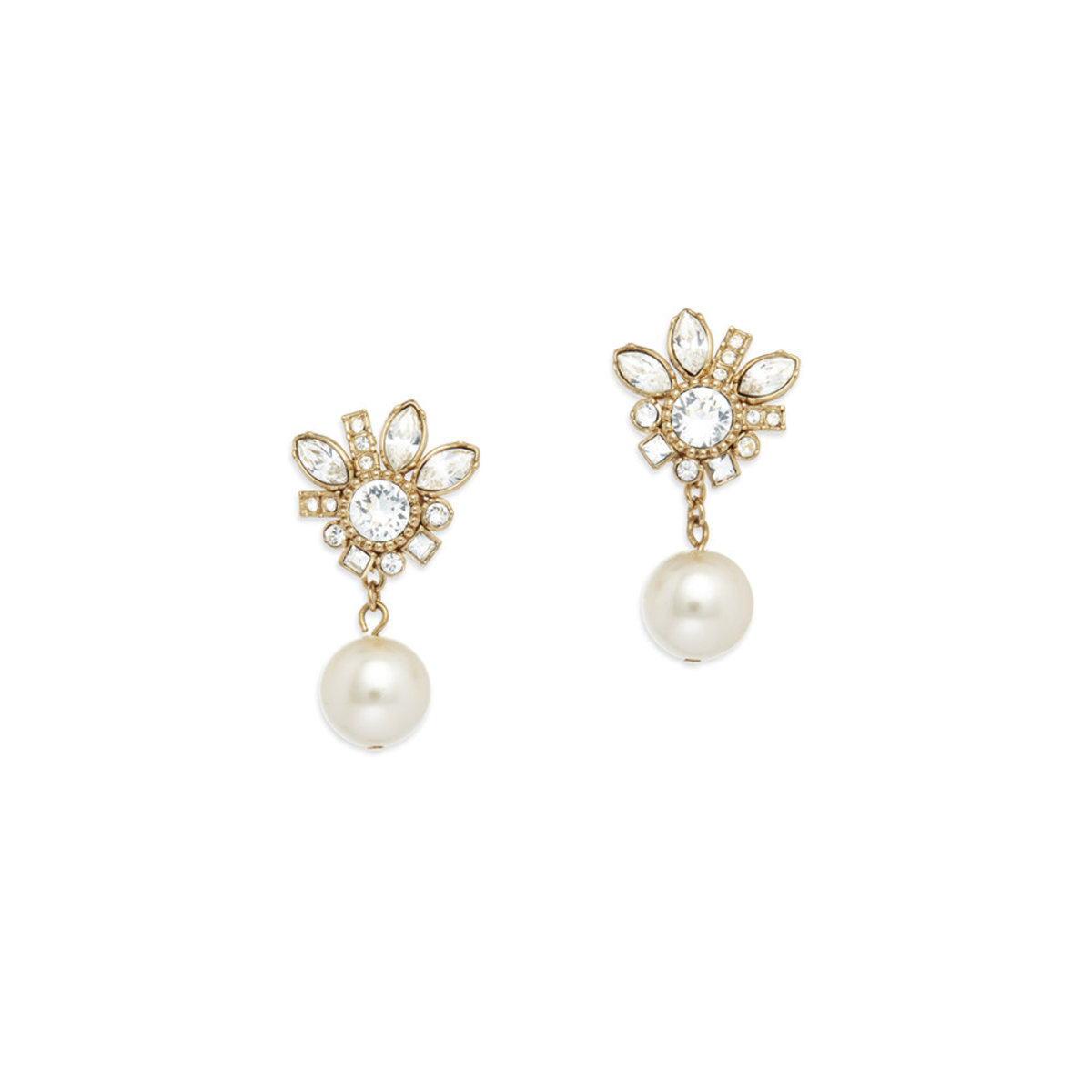 Versatile Pearl: gold plating, Swarovski crystal, Czech crystal pearl 2-way pierced earrings