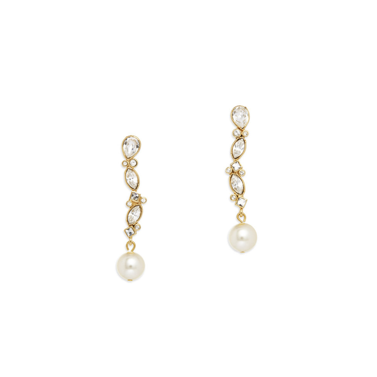 Versatile Pearl: gold plating, Swarovski crystal, Czech crystal pearl pierced earrings