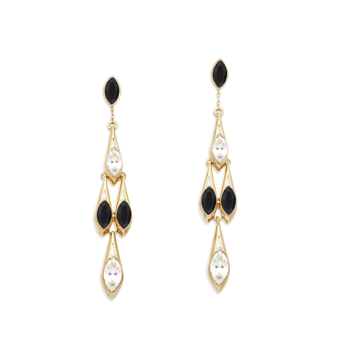Ailes: gold plating, Swarovski jet/clear  crystal pierced earrings (can be worn in 2 ways)