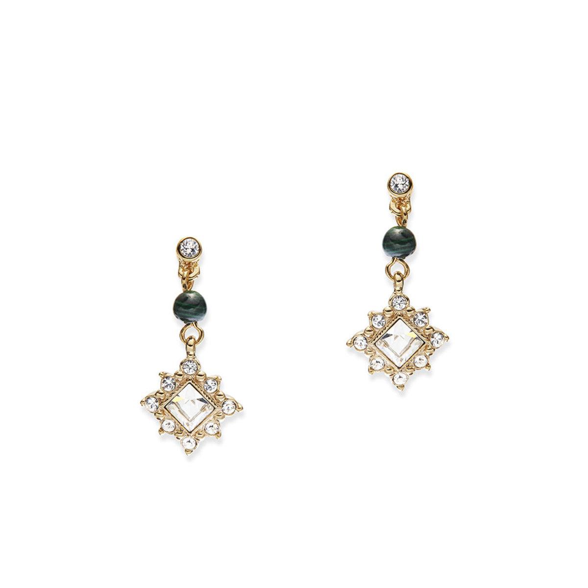 Charisma: gold plating, semi-precious stone bead,   Swarovski crystal pierced earrings