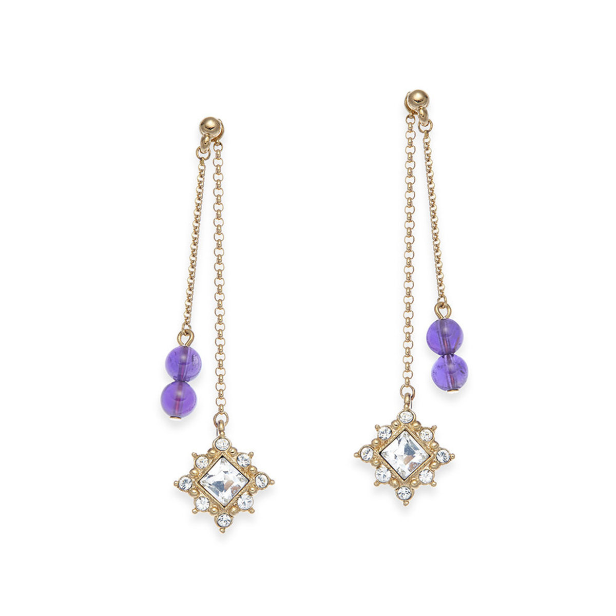 Charisma: gold plating, semi-precious stone bead,   Swarovski crystal 2-way pierced earrings
