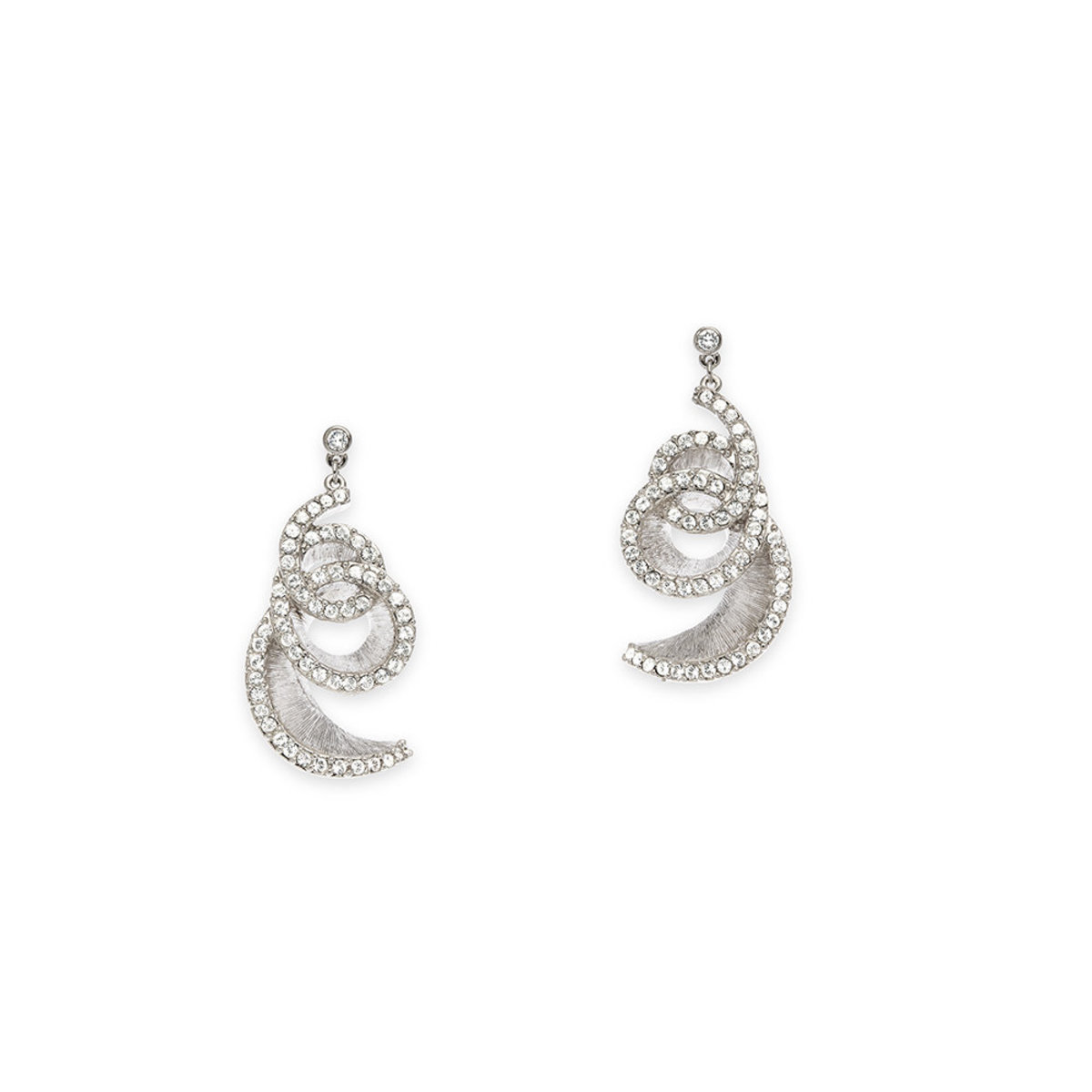 The Wave: platnium plating, Swarovski crystal pierced earrings