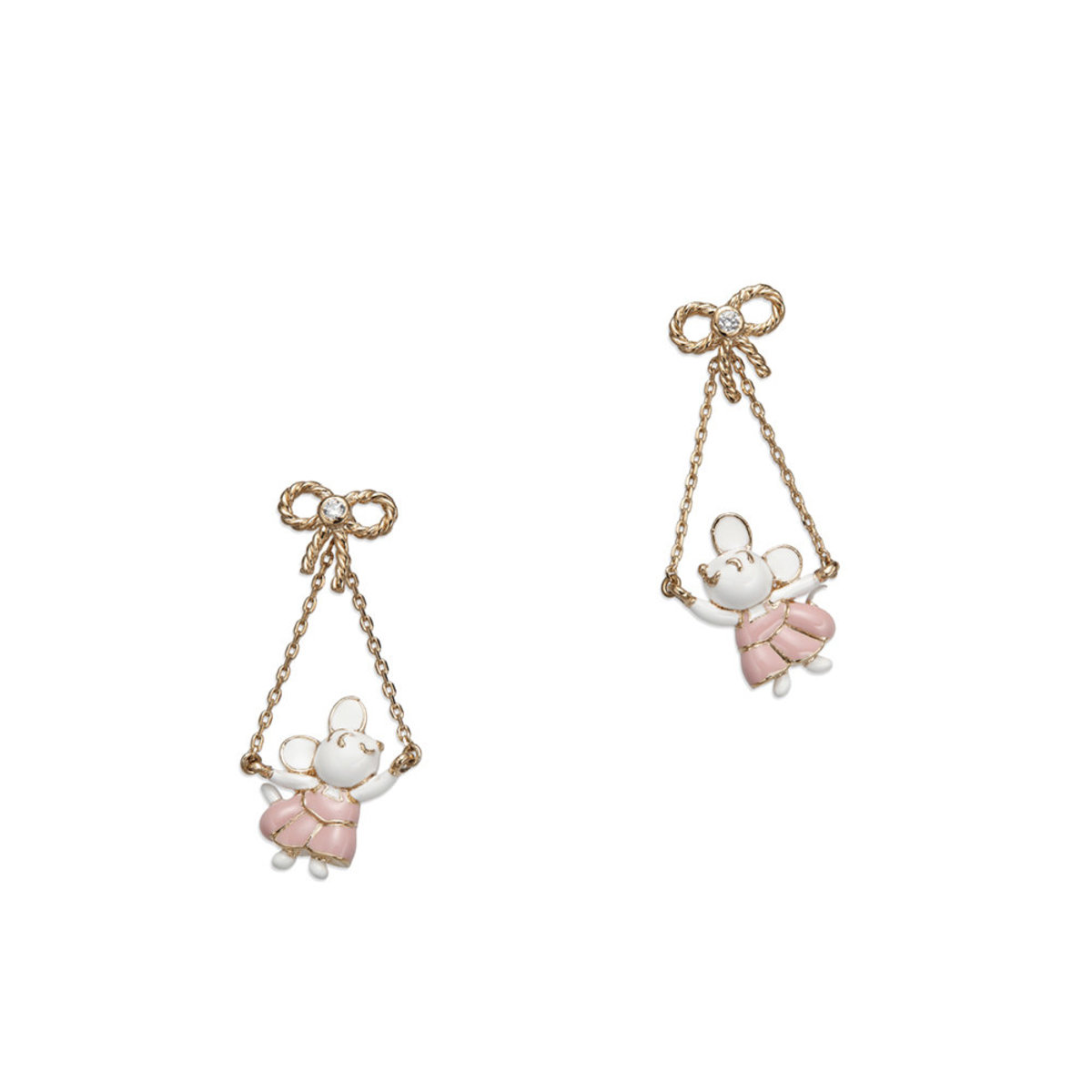 Petit Ami: gold plating, Swarovski crystal, enamel, 3-D ribbon & dancing mouse pierced earrings (can be worn in 2 ways)