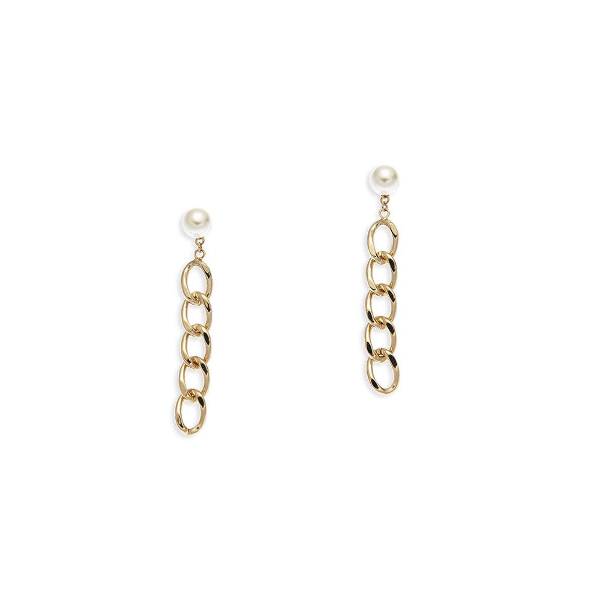 Catena: gold plating, Swarovski pearl clip earrings