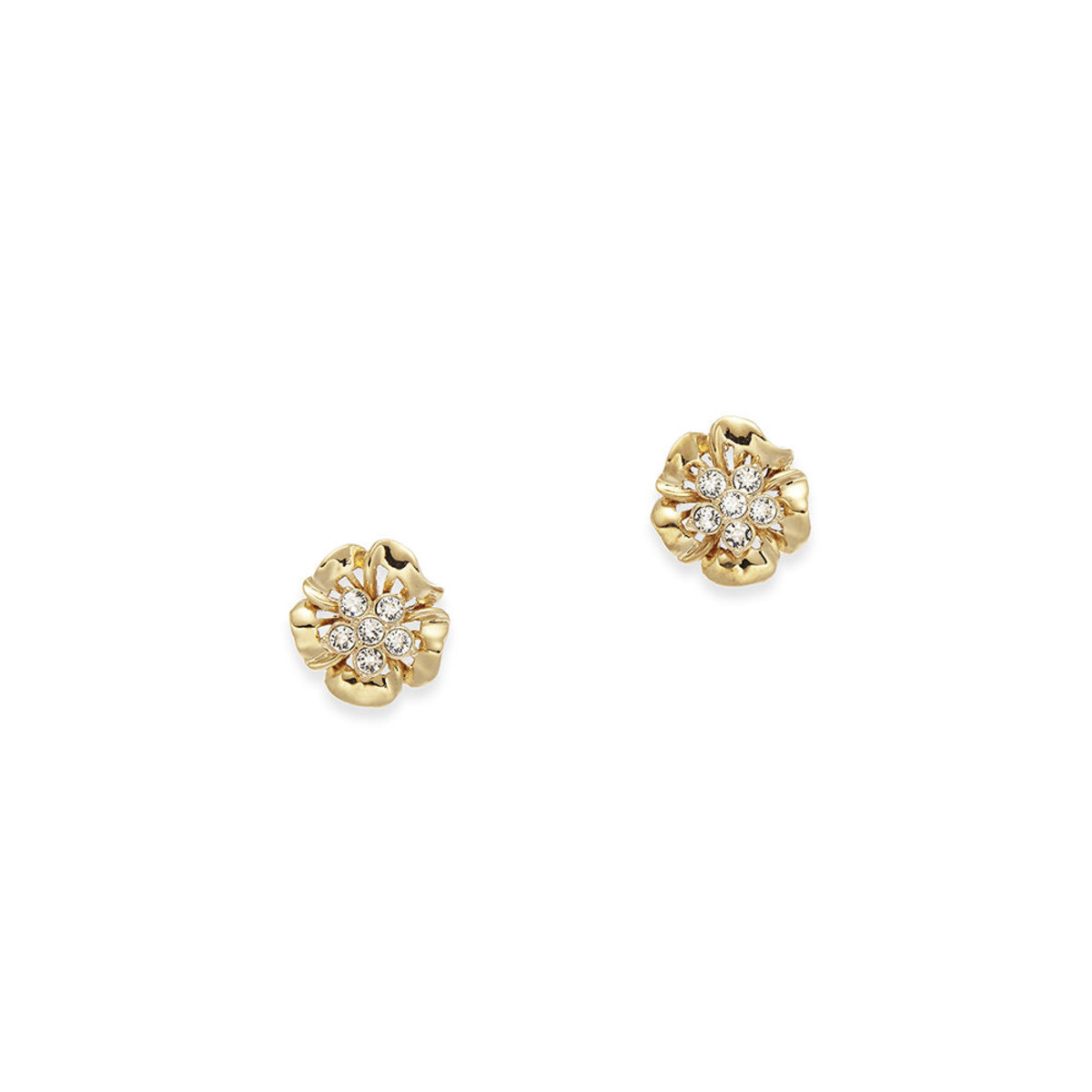 Lush Blossom: gold plating, Swarovski crystal, flower clip earrings