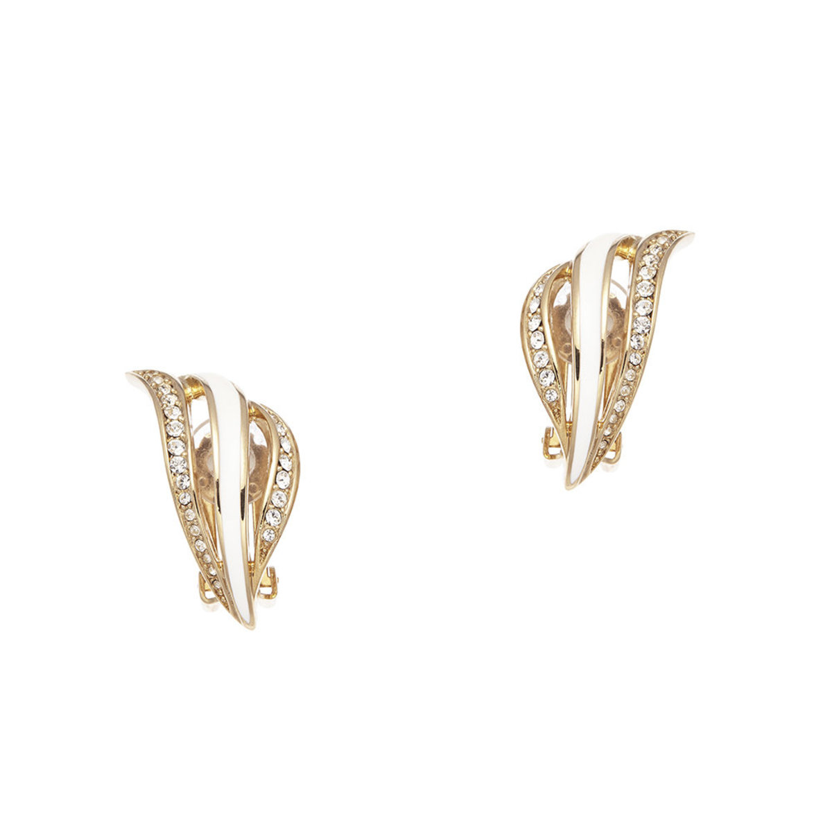 Tresor: gold plating, Swarovski crystal, white enamal clip earrings