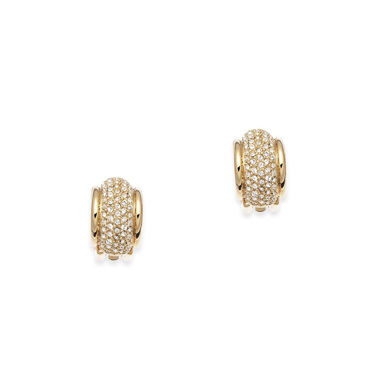 Tresor: gold plating, Swarovski crystal clip earrings
