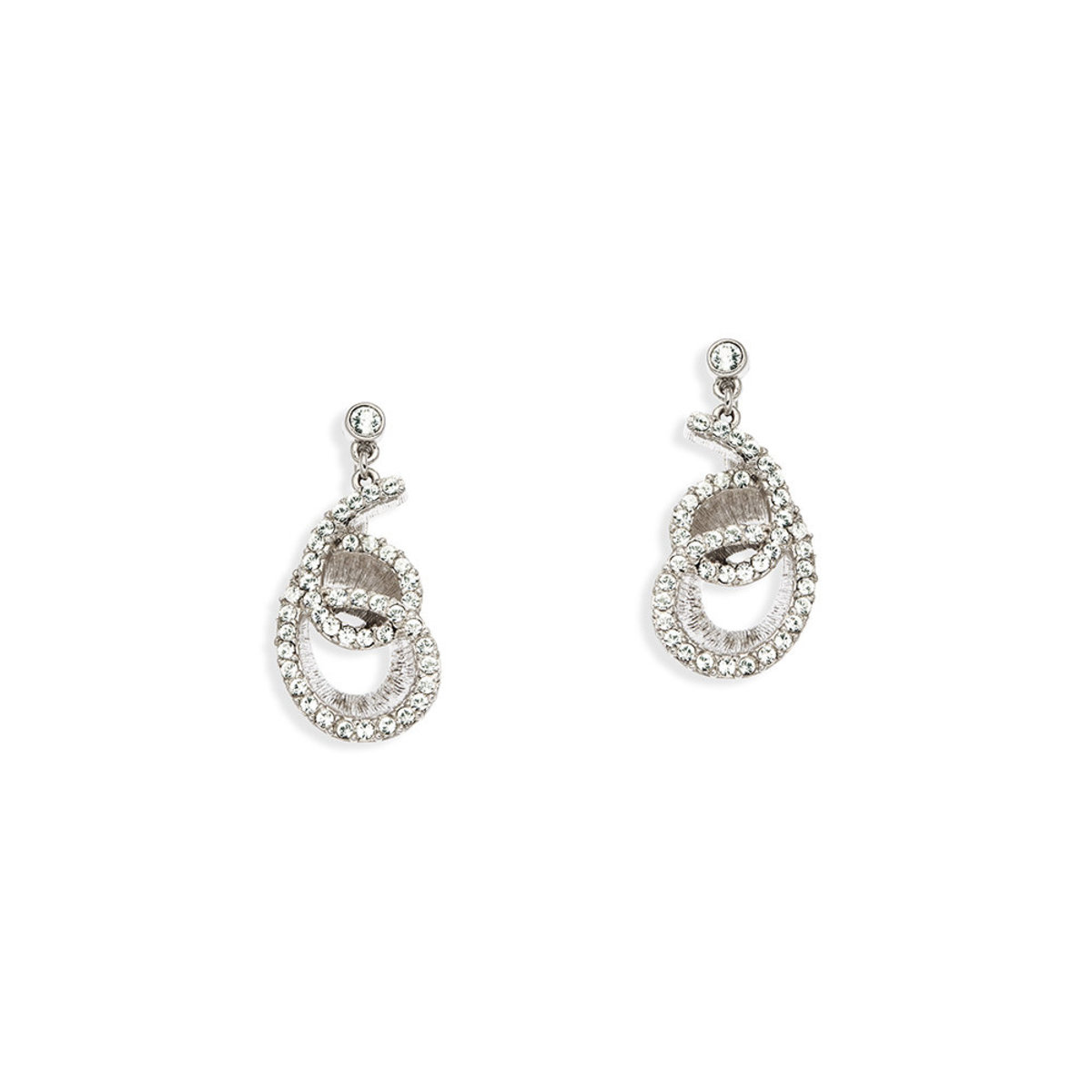 The Wave: platnium plating, Swarovski crystal pierced earrings