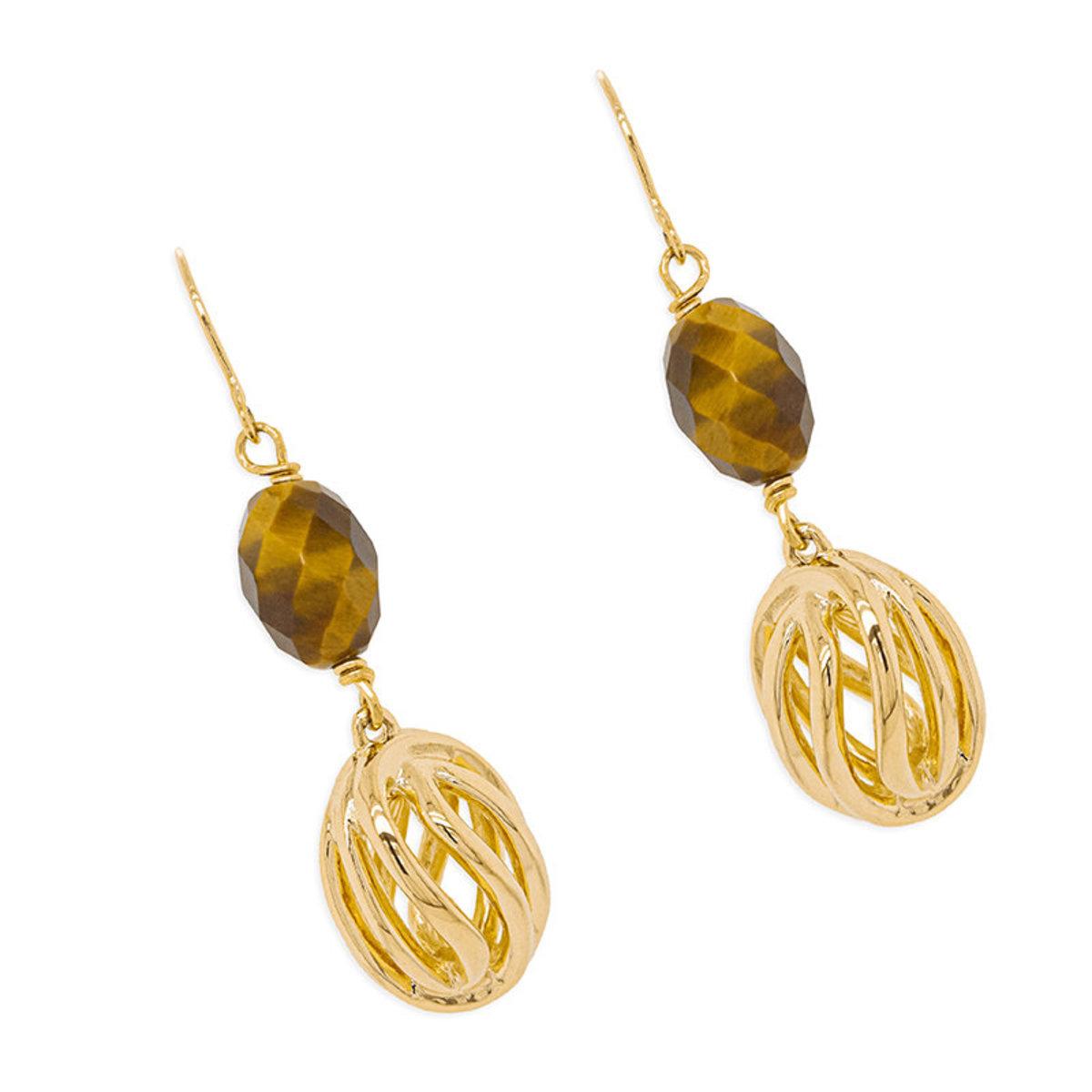 Natura bracelet: gold plating, tiger eye fish hook earrnings