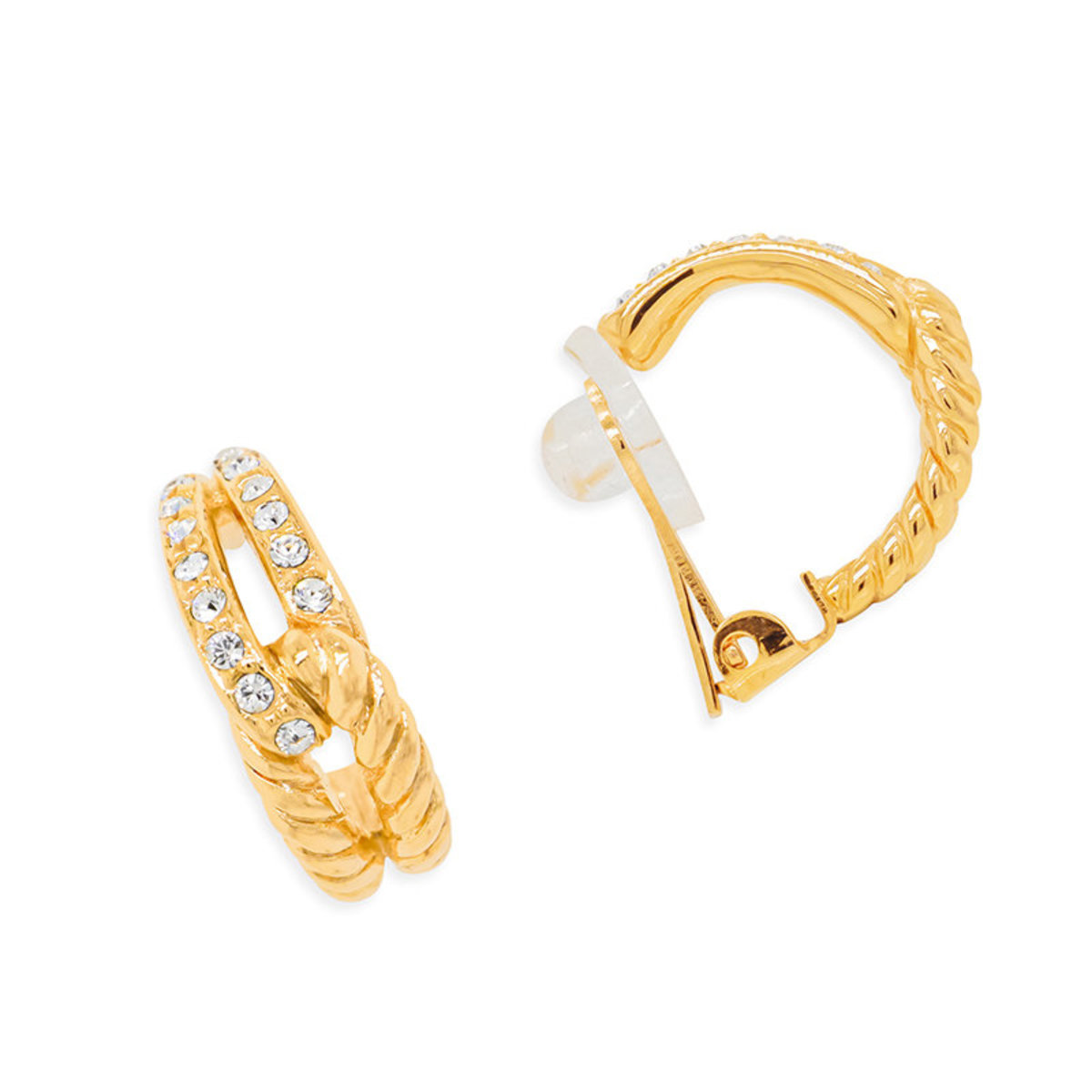 Treosr: gold plating, Swarovski crystal clip earrings