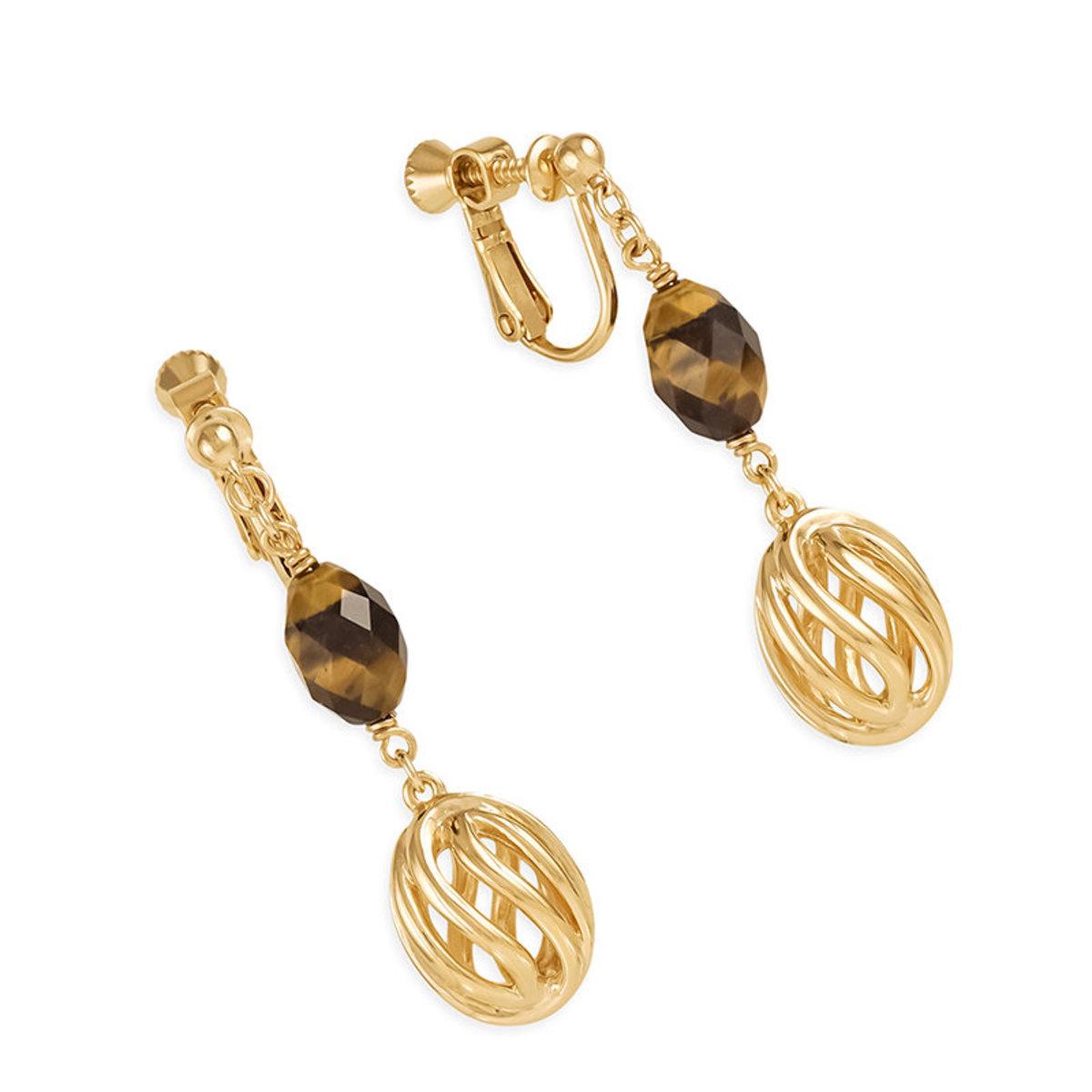 Natura bracelet: gold plating, tiger eye clip earrings