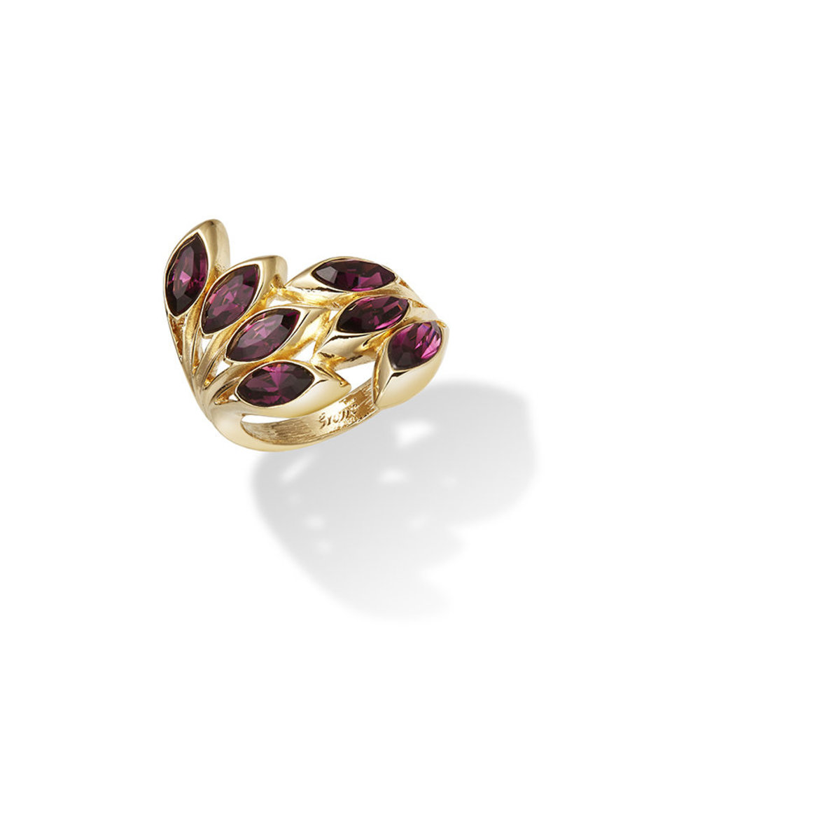 Ailes: gold plating, Swarovski amethyst crystal ring