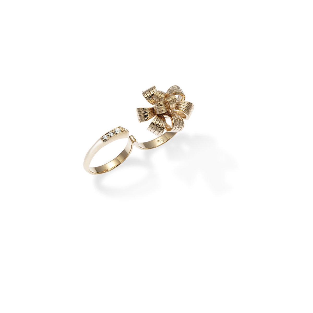 Ruban 1964 : gold plating, Swarovski crystal, flower ring