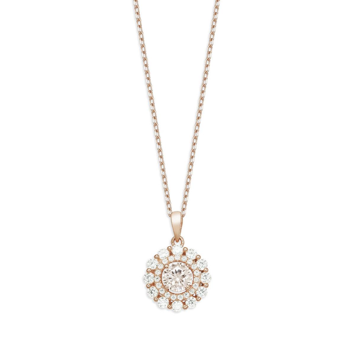 La Belle: 925 silver, rose gold plating, CZ stone necklace