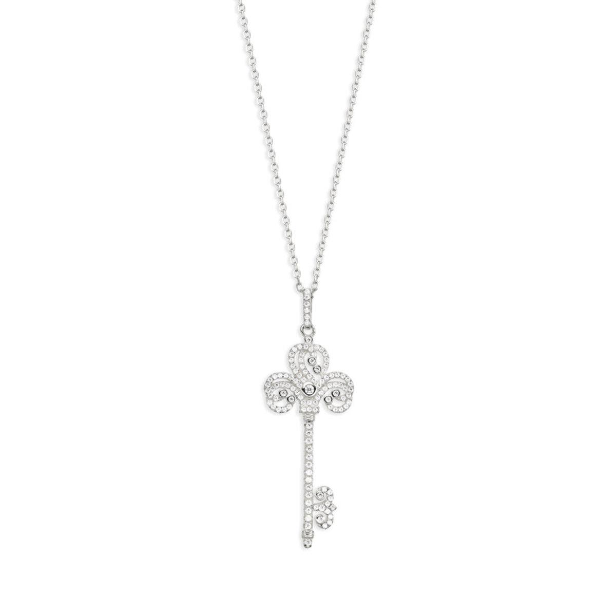 Precious Key: 925 silver, CZ stone necklace