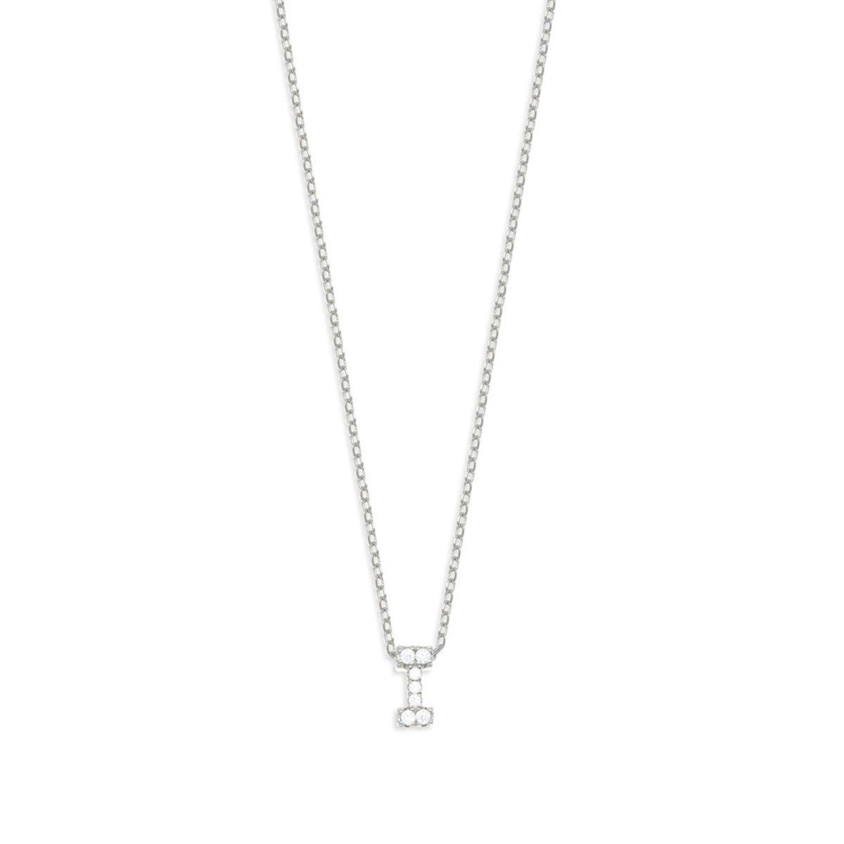Silver Alphabets:925 silver,CZ stone necklace