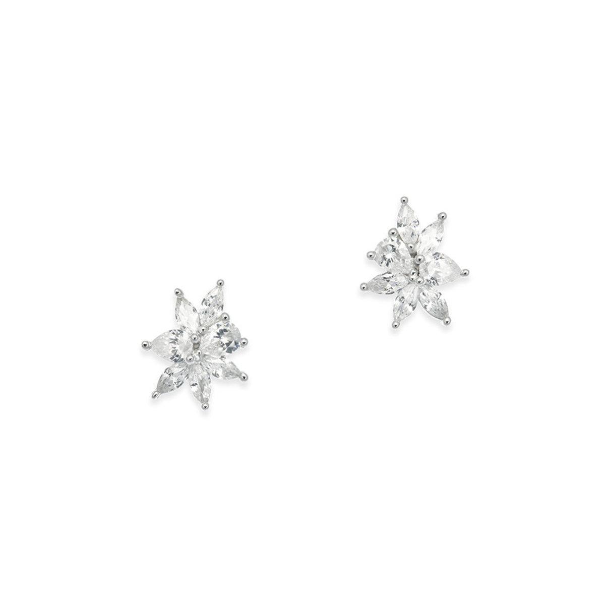 Tresor: 925 silver, rhodium plating, CZ stone pierced earrings