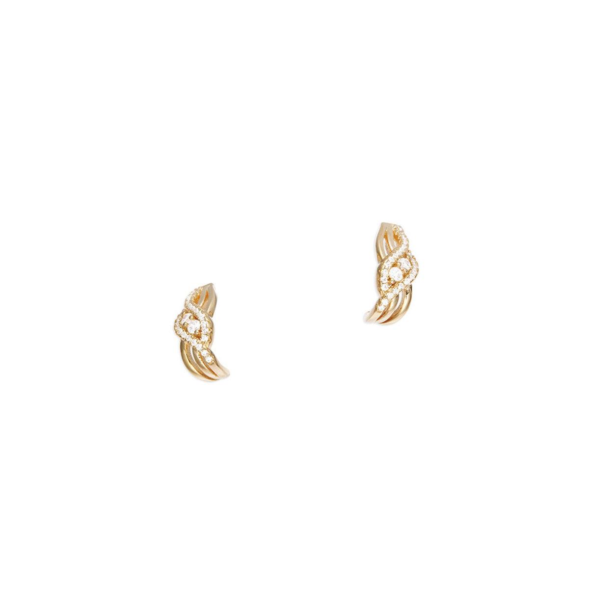 La Belle: 925 silver, rose gold plating, CZ stone pierced earrings