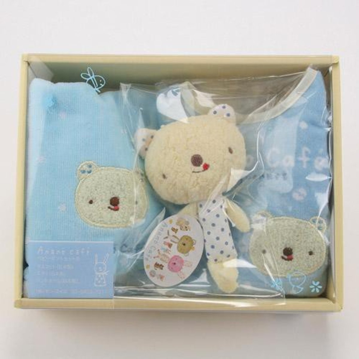 全棉初生嬰兒禮盒套裝 (日本制)- (藍色) 3件套