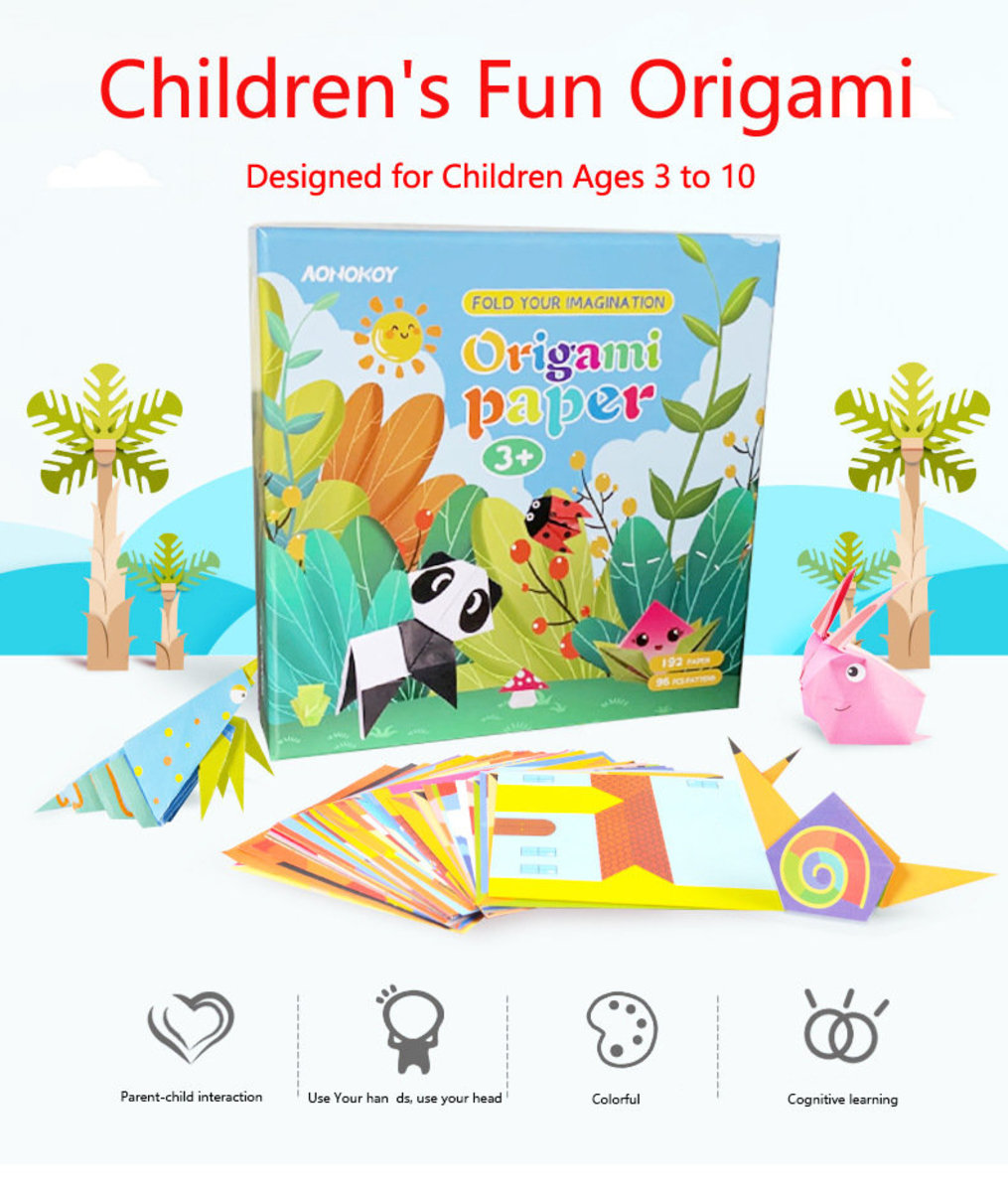 Origami Paper with Tutorial Book - 192papers with 96 patterns