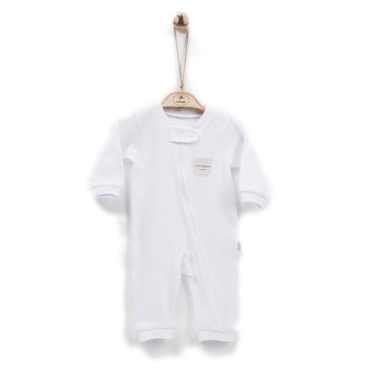 有機棉嬰兒長袖拉鏈連身衣 (3-6M)