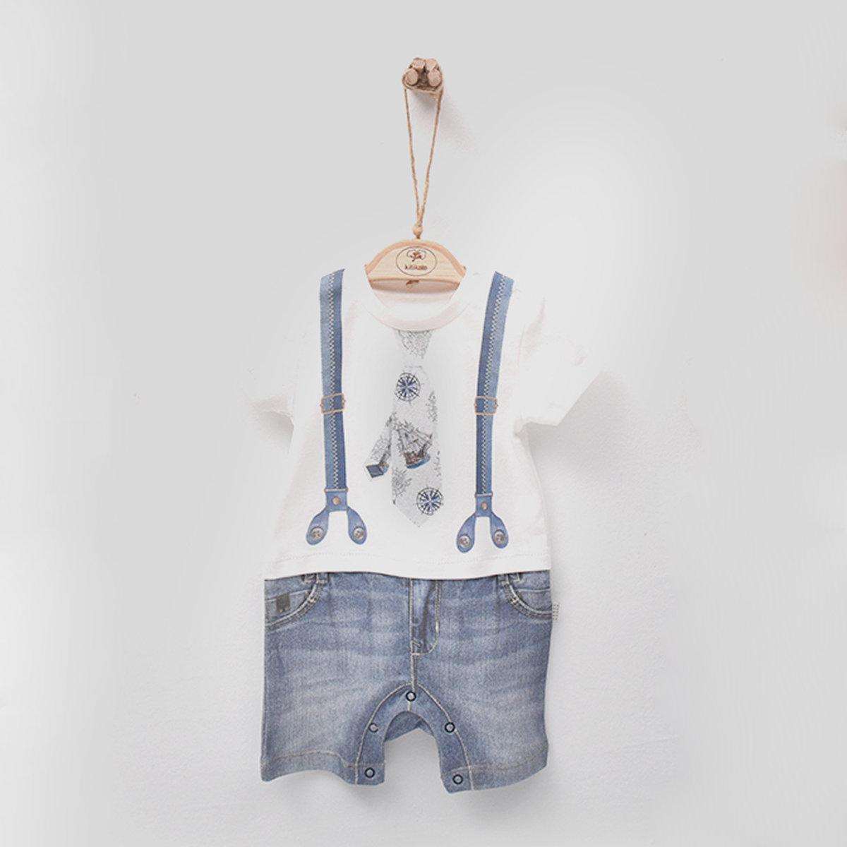 有機棉印花短袖連身衣 (GENK)-1-3M