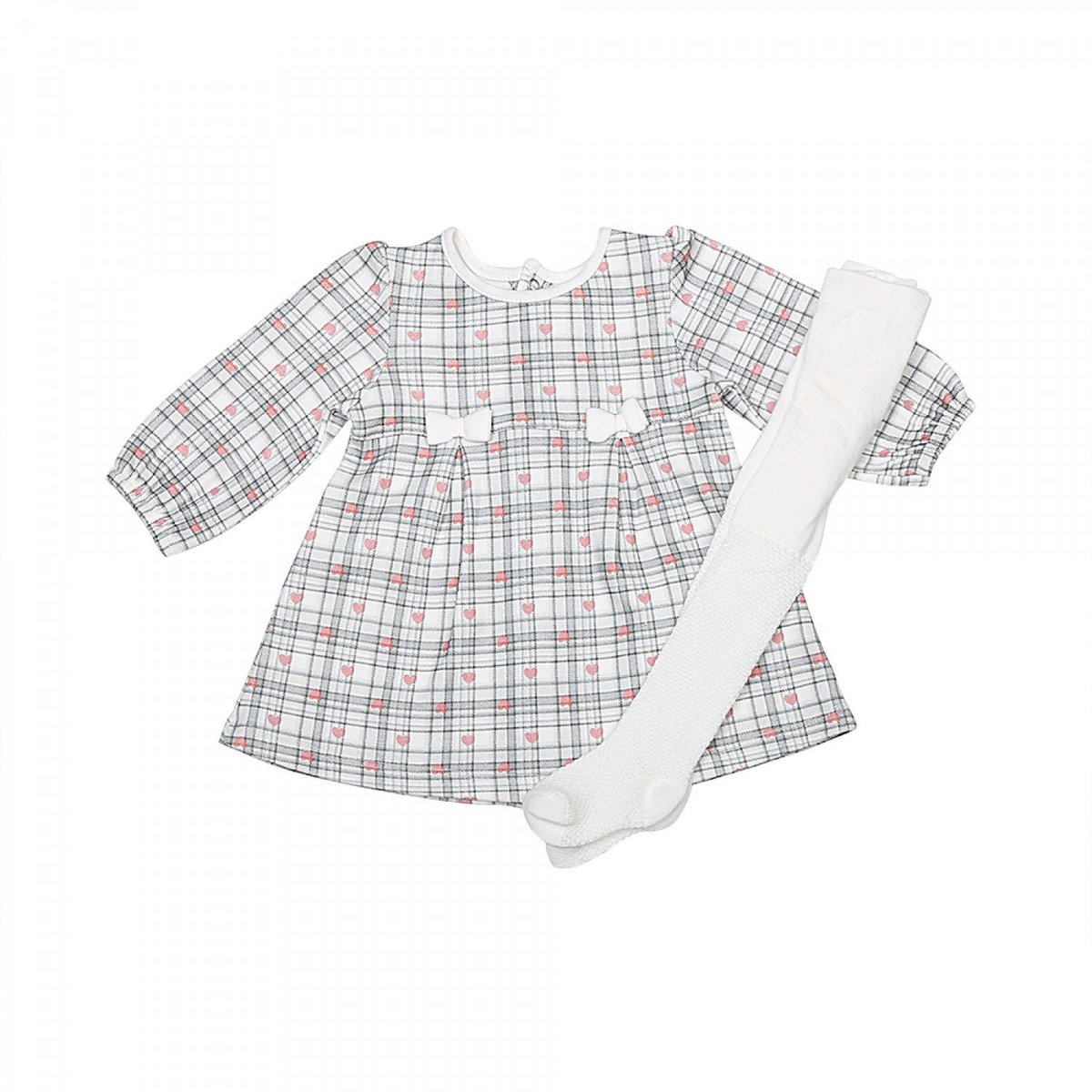 Organic Cotton Long Sleeve Dress with Socks Set (1-3M)
