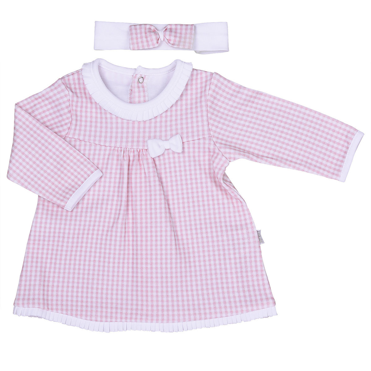 Organic Cotton Long Sleeve Dress With Headwear (1-3M)
