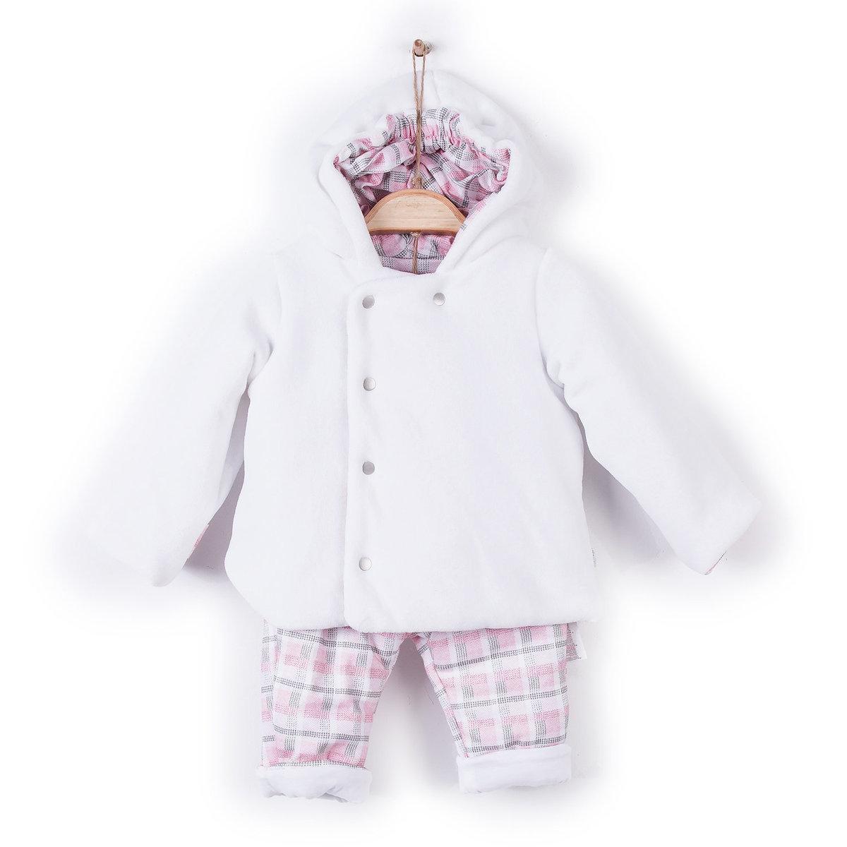 有機棉冬季加厚外套連帽配夾棉褲兩件套裝-粉紅色 (3-6M)