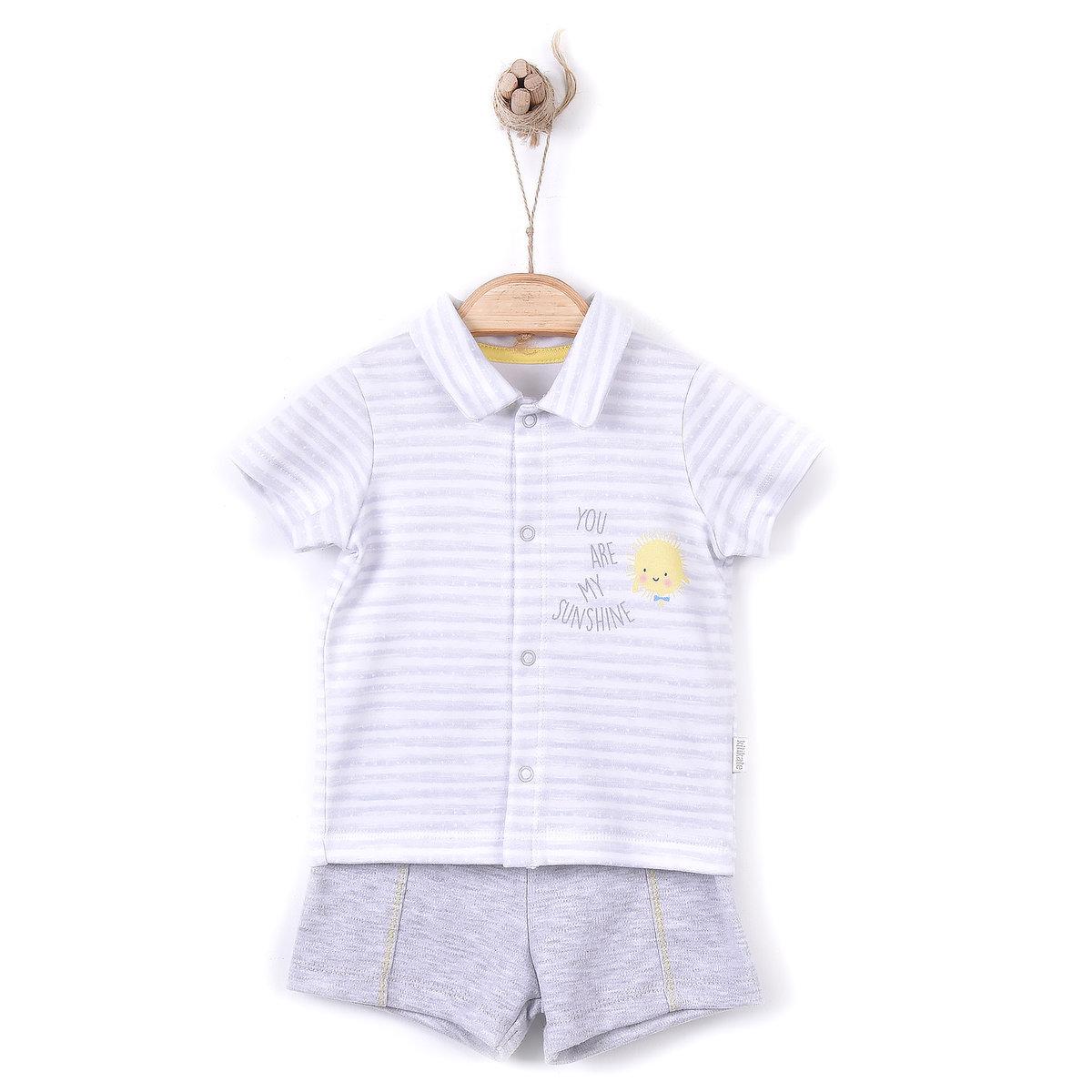 Organic Print Short Sleeve Shirt+Trousers (TAKIM)-1-3M