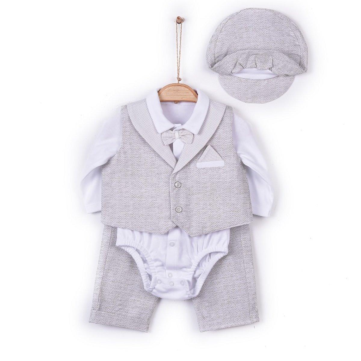 Organic Boy Suit (Shirt+Trousers+Cap) (ERKEK MEVLUT TAKIMI)-1-3M