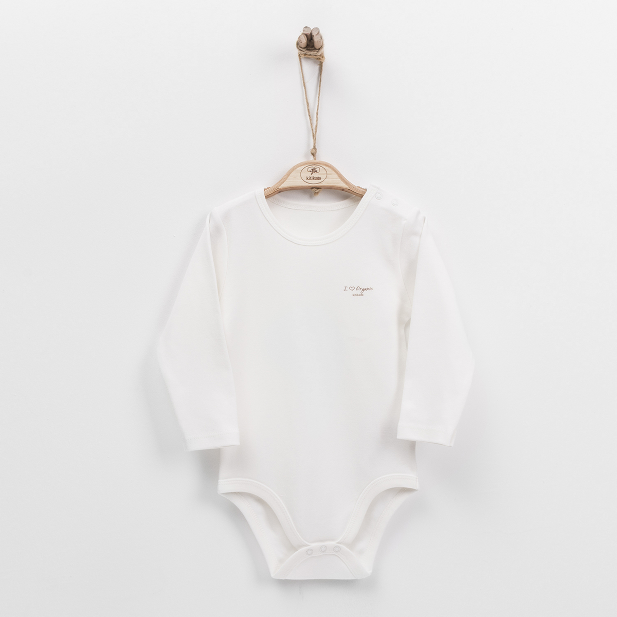 Organic Long Sleeve Child Bodysuit (Beige)-(12-18M)