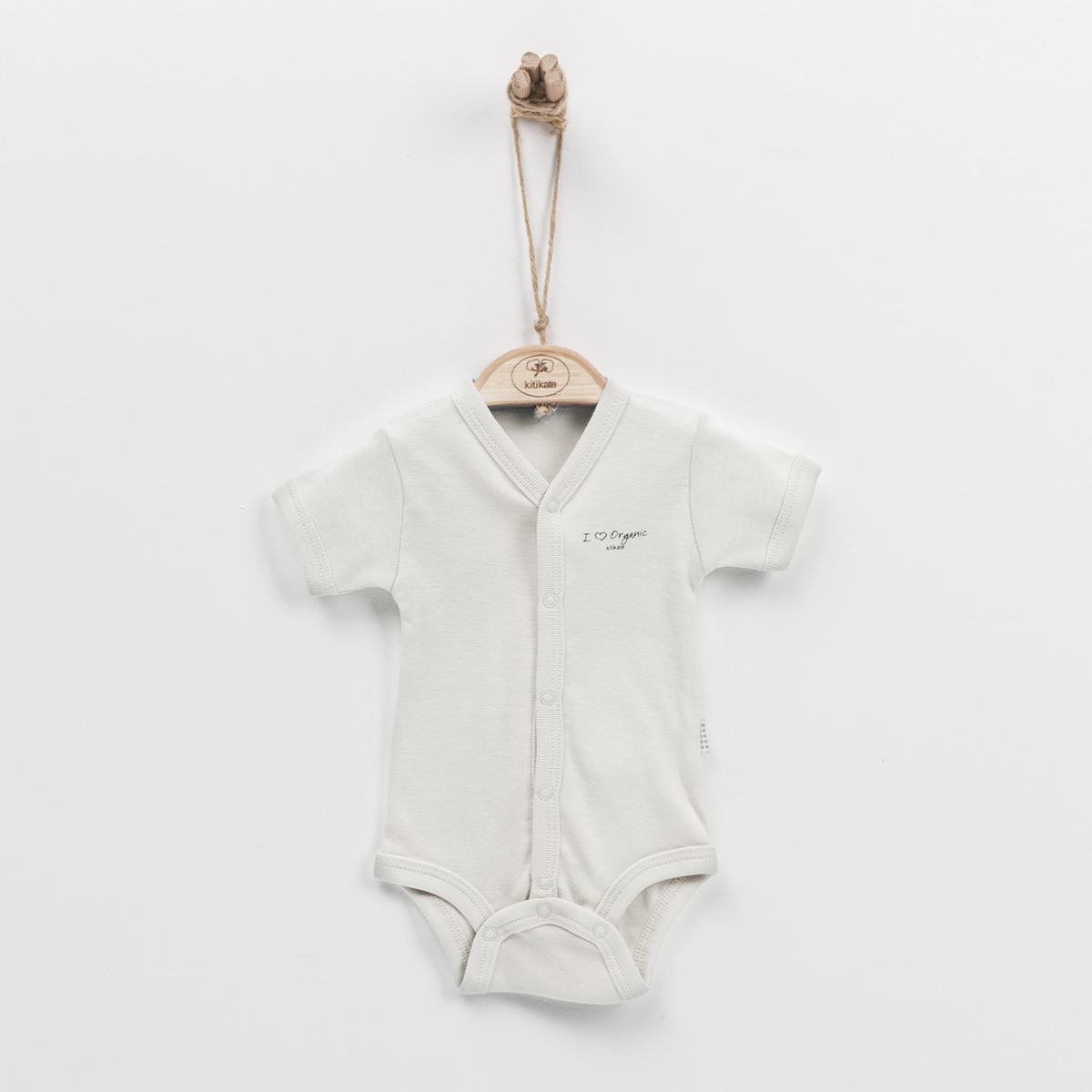 Newborn Short Sleeve Bodysuit (Beige)-50cm (0-1M)