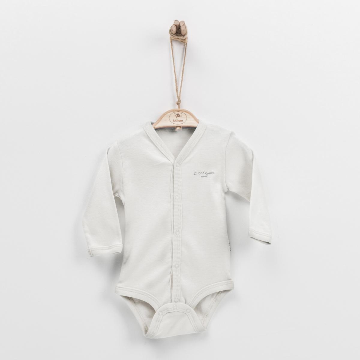 初生嬰兒有機棉長袖夾衣 (杏色)-50cm (0-1M)