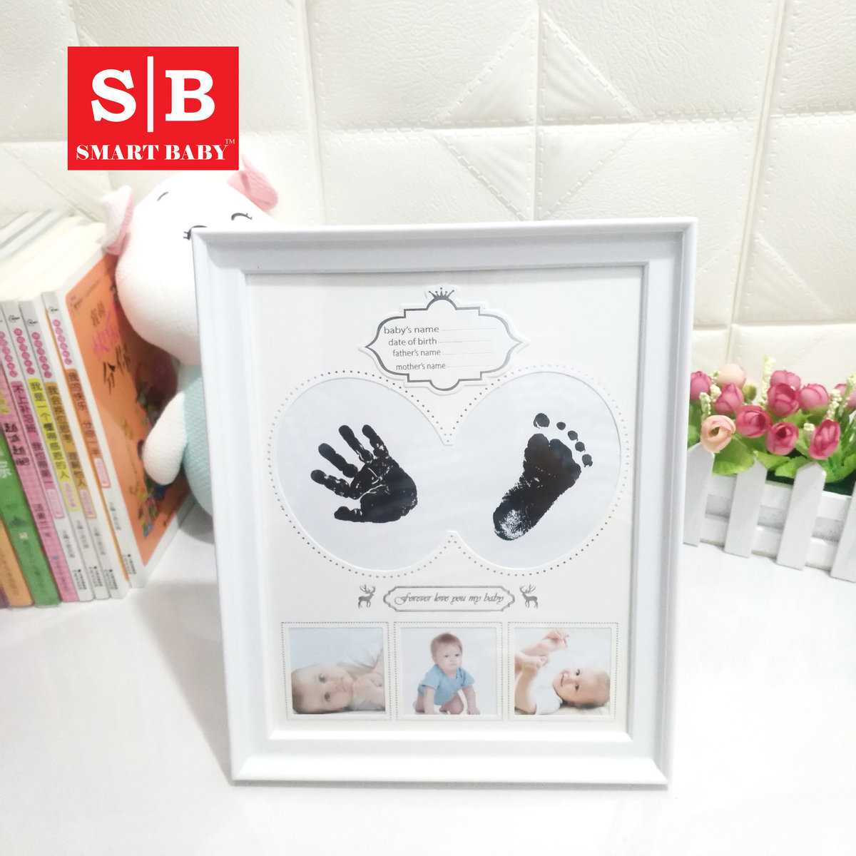 Newborn Baby Memorial Hand & Footprint Mud Set with Photo Frame (Large Size)