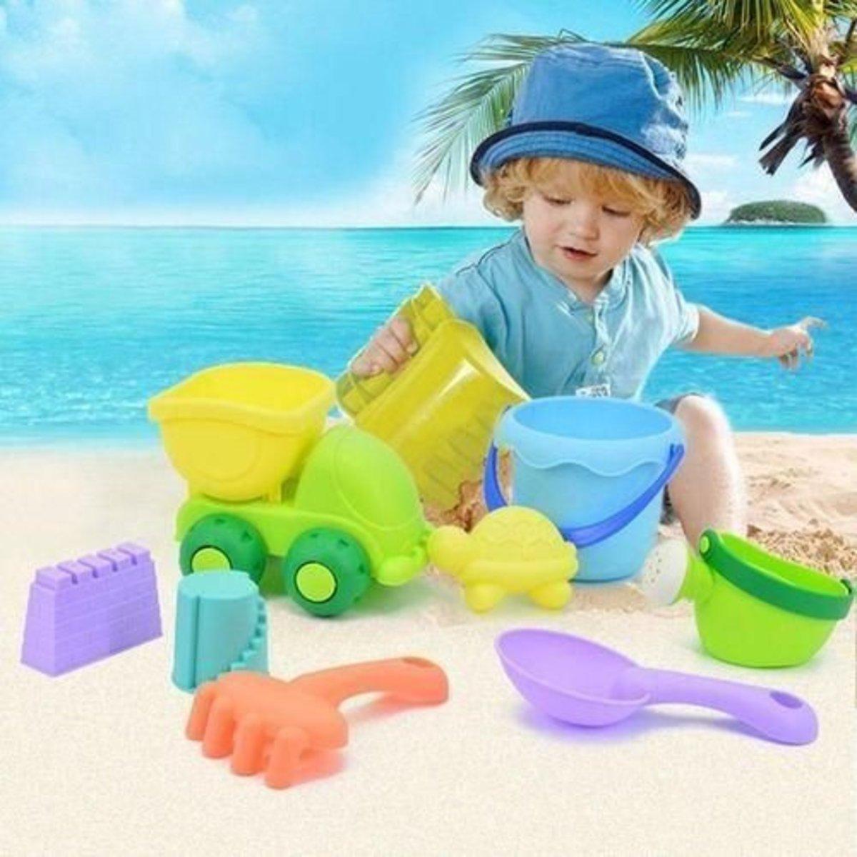 軟膠沙灘玩具-6件裝 (顏色隨機)