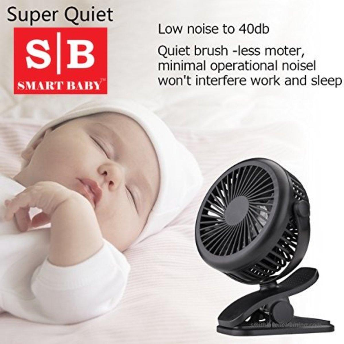便携USB充電小風扇/ 嬰兒車用小風扇 (三段風速) (黑色)