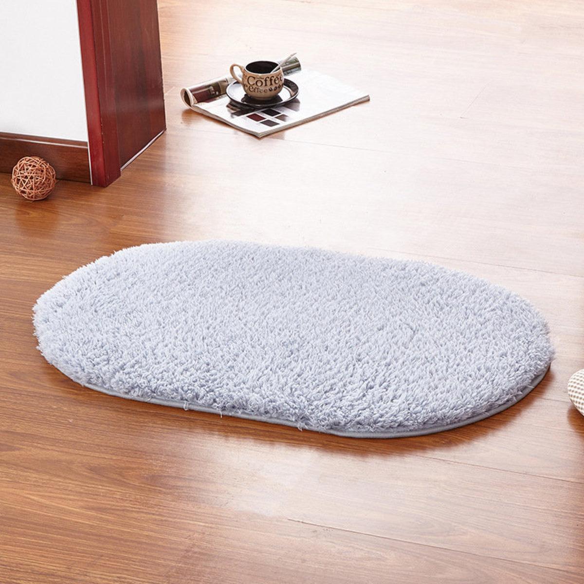 Bathroom mat / thickened long-hair absorbent non-slip rug / living room carpet (Blue/Grey)