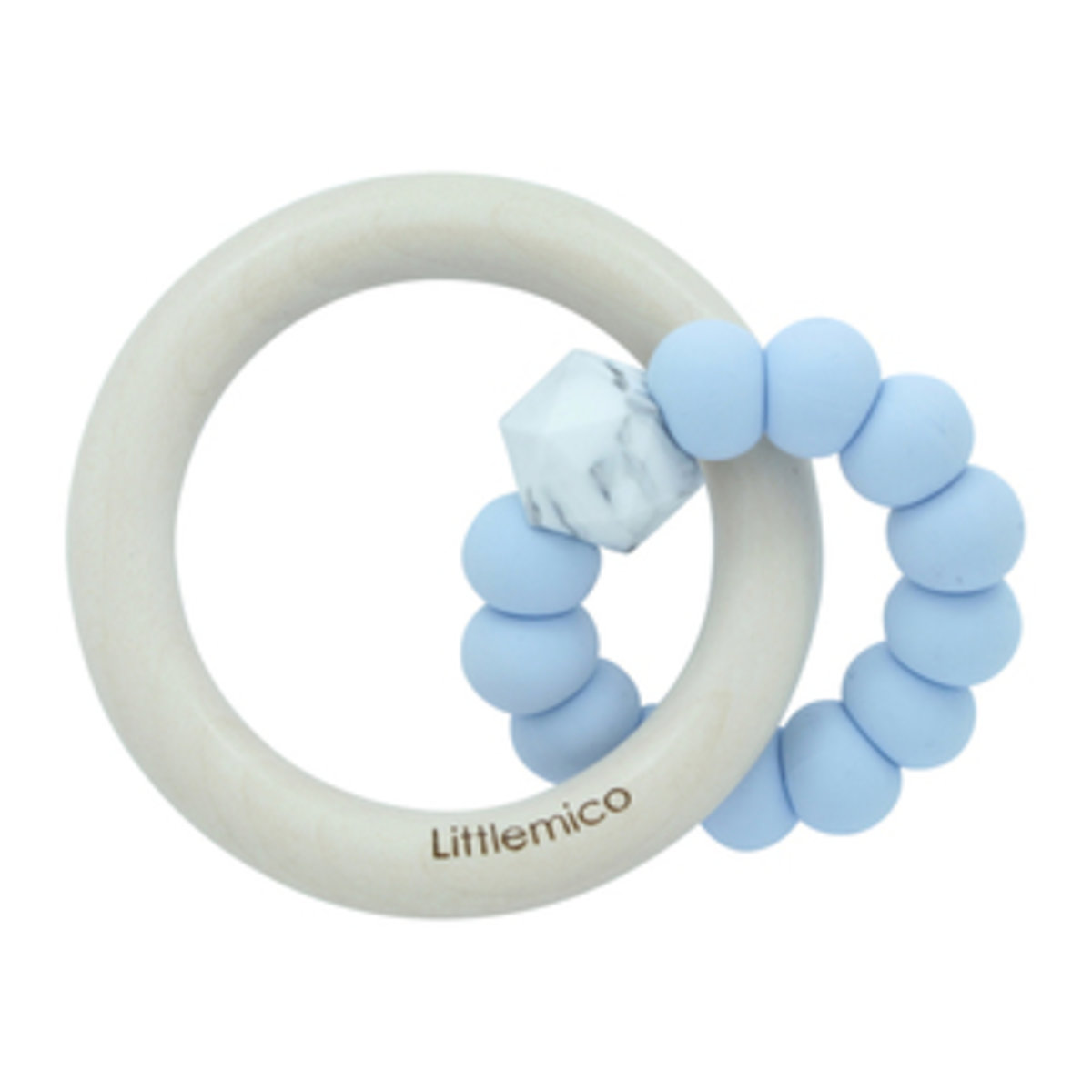 Teether Silicone & Wood (Baby Blue)