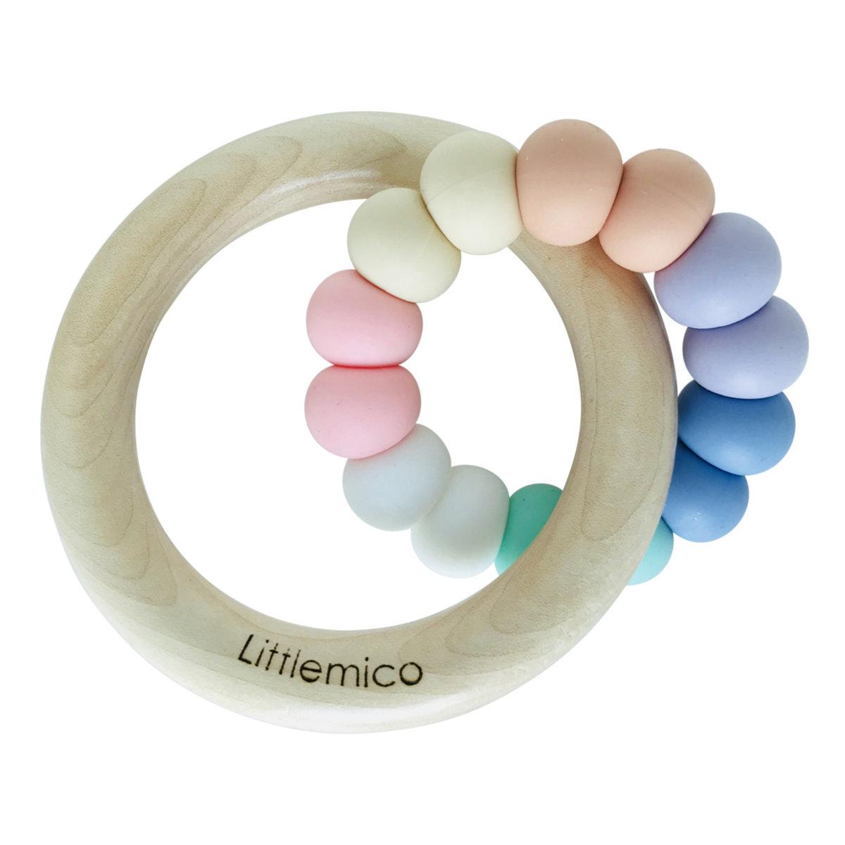 Teether Silicone & Wood (Rainbow)