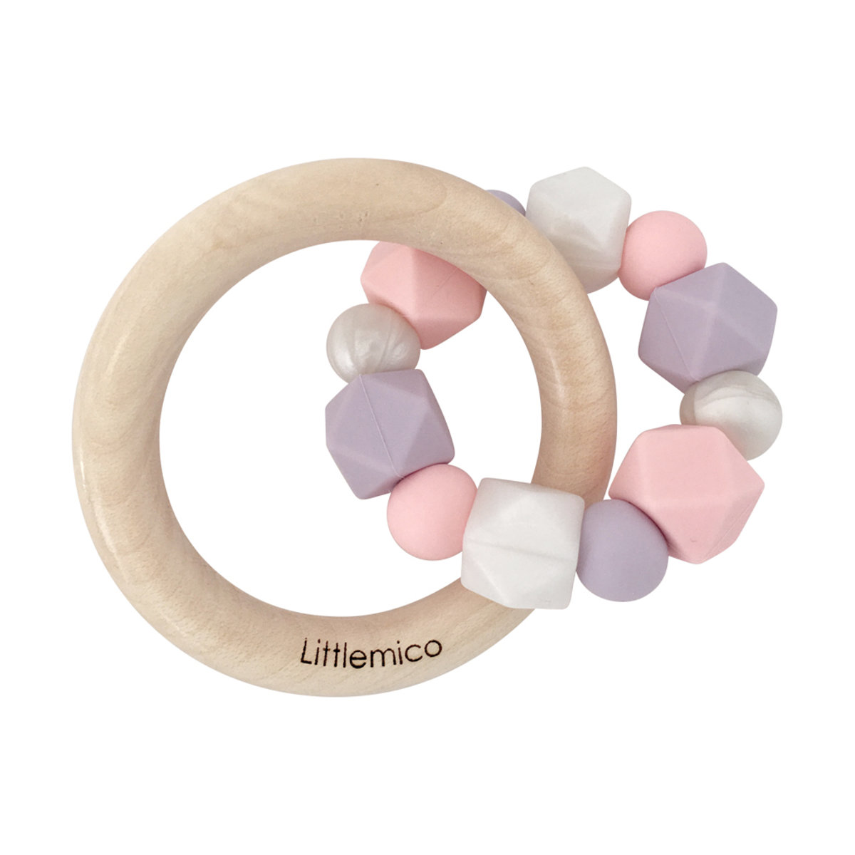 Teether Silicone & Wood (Pastel Candy)