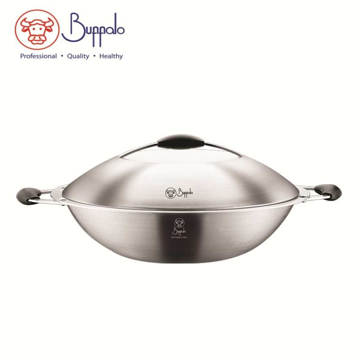 Spacious 36CM 5-Ply Flat Bottom Wok with Stainless Steel Lid (556436A)