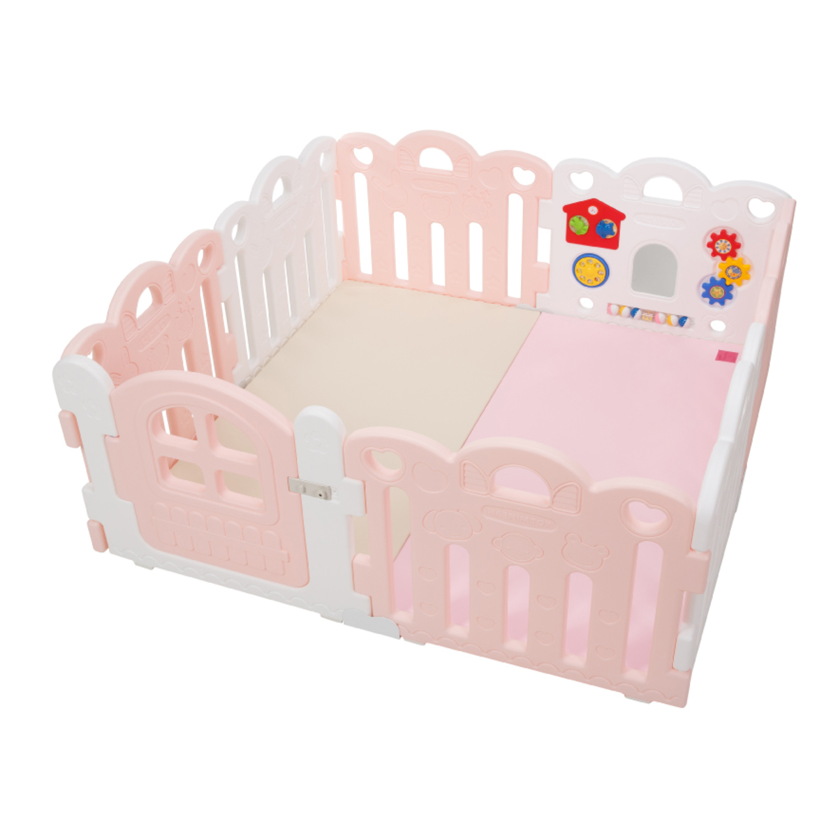 Haenim Toy Petit 8 Panels Baby Room and Play Mat Set - Pink / White