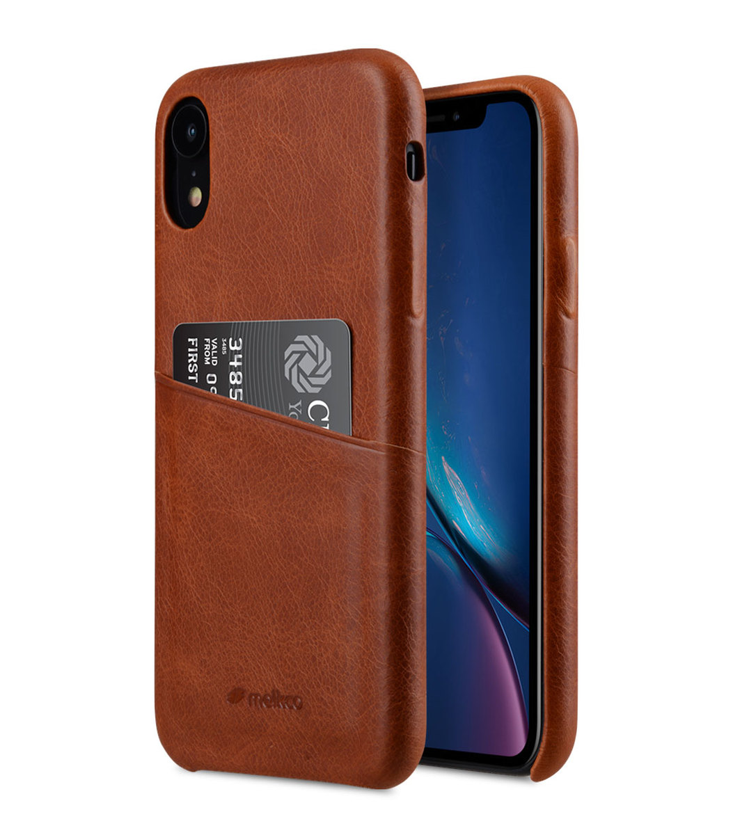 Apple iPhone XR Elite Series Premium Leather Snap Back Pocket Case (Brown)