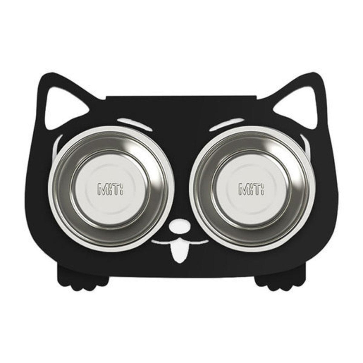 寵物不鏽鋼食物架(連碗) - 黑色