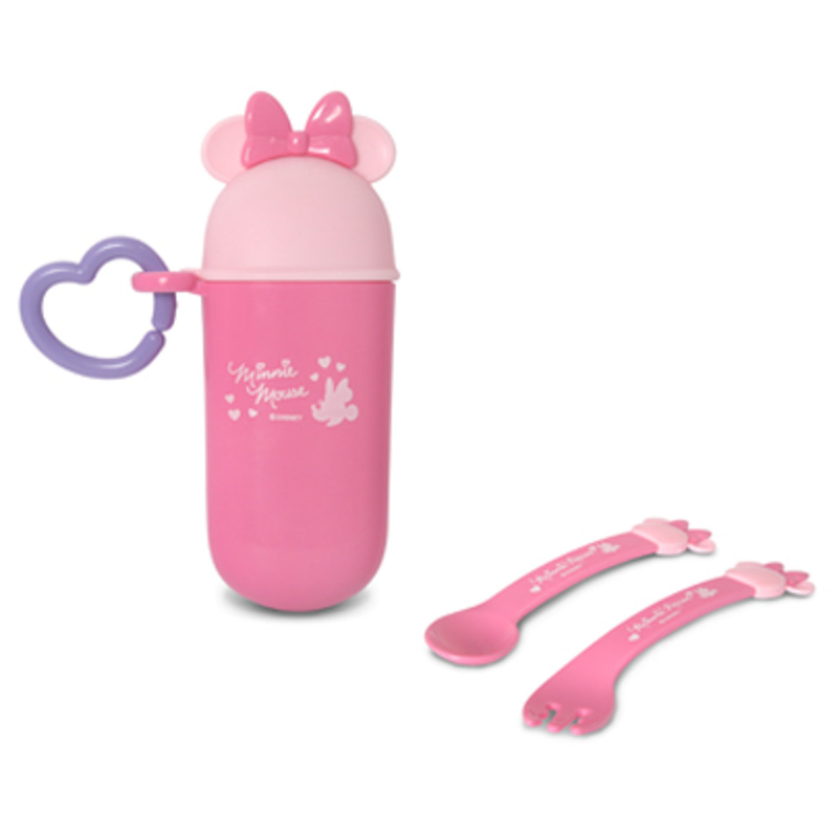 SPOON AND FORK W CONTAINER-MINNIE [Licensed by Disney]
