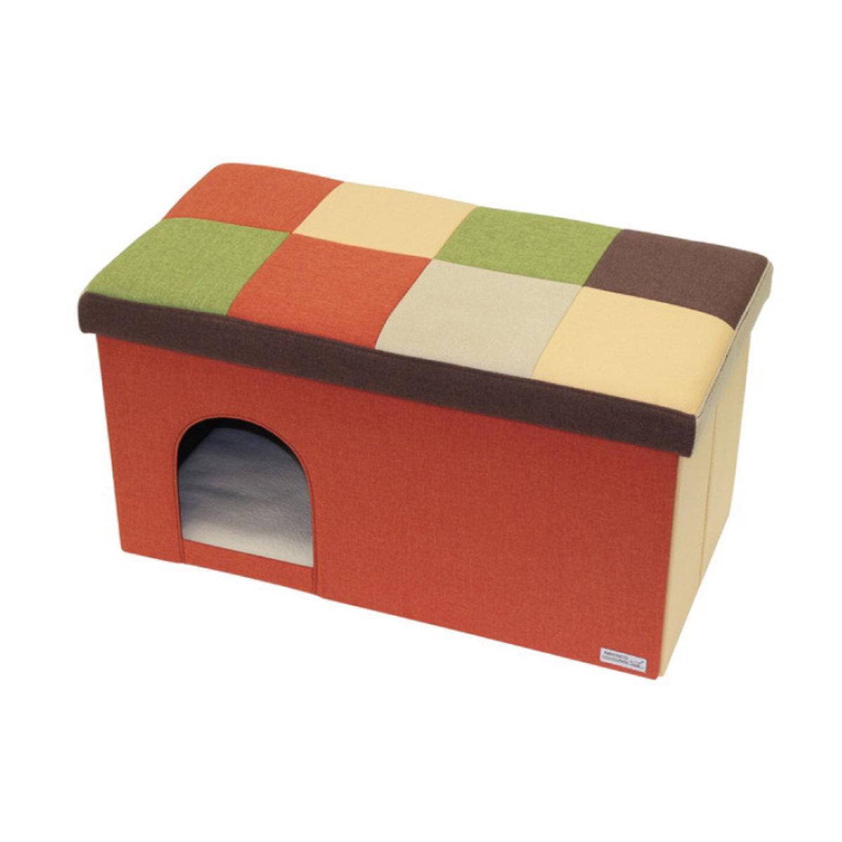 necoco橙色格仔兩⽤貓屋(加長型) #F107(W25495)