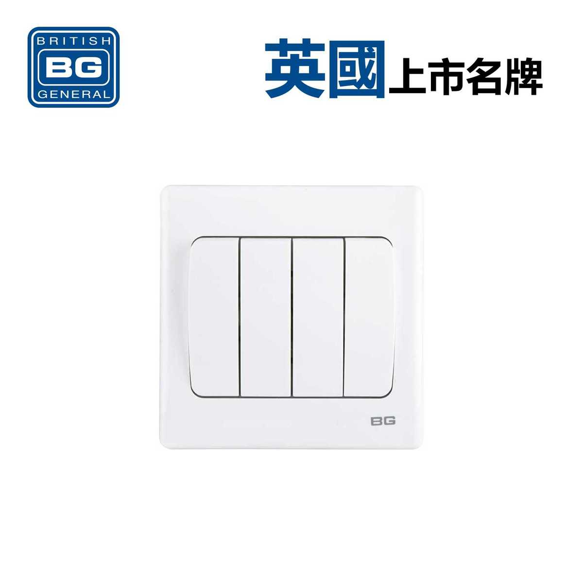 4-Gang 2-Way 10Amp Switches -White (Model: PCWH44W)