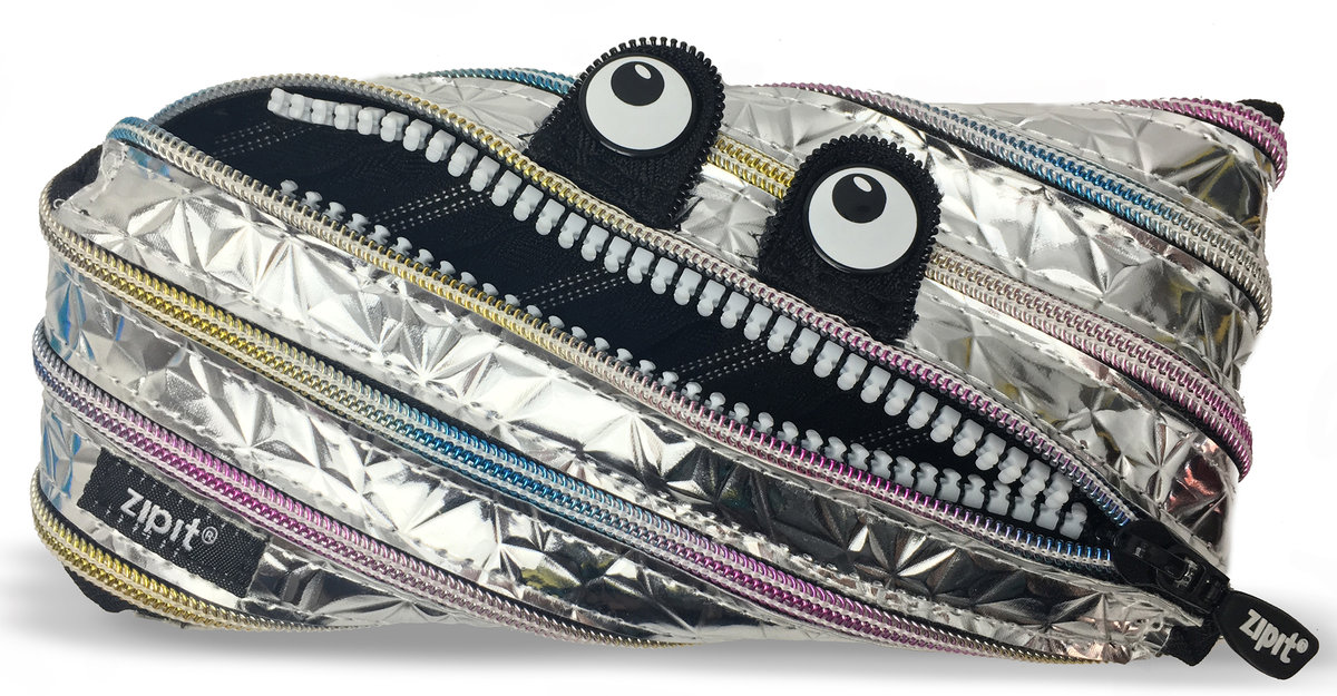 zipit | Metallic monsters Pouch - Sliver with White teeth